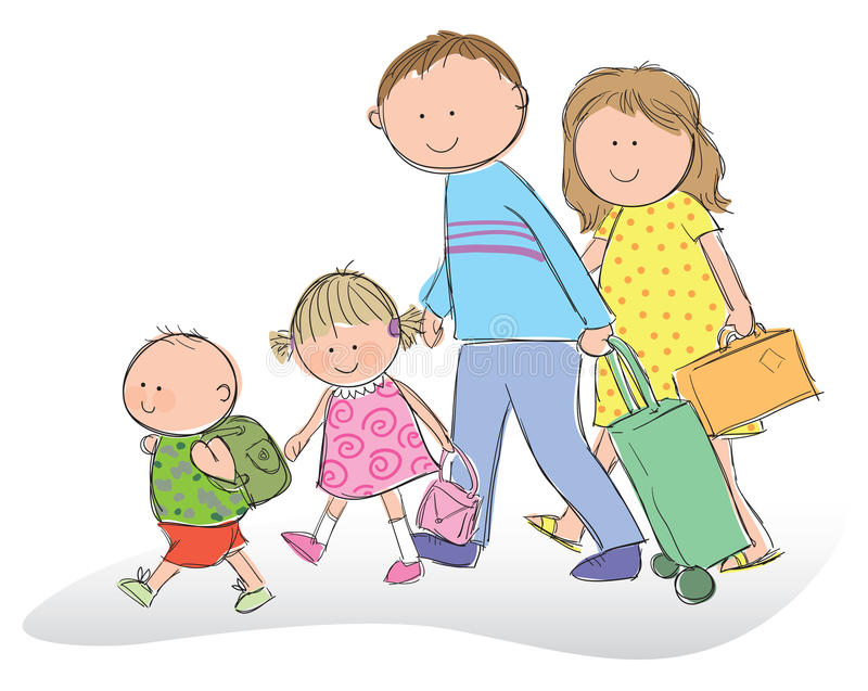 Family going on vacation. Hand drawn picture of a family going on vacation, illustrated in a loose style. Mom and dad with their son and daughter carrying royalty free illustration