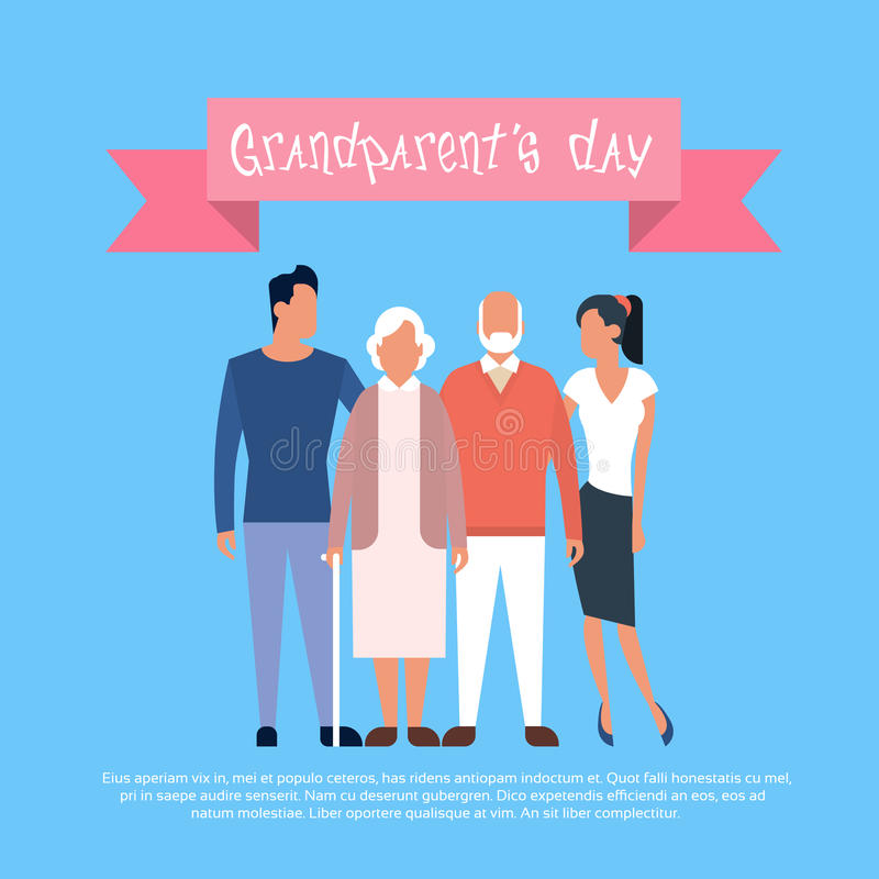 Family Grandfather With Grandmother Happy Grandparents Day Greeting Card Banner. Flat Vector Illustration stock illustration