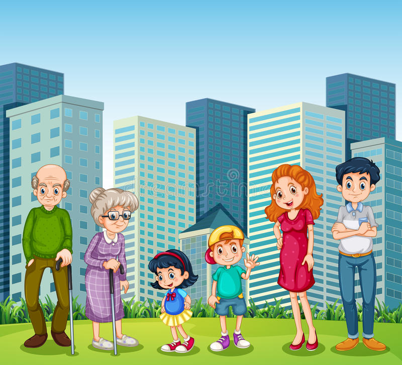 A family with the grandparents in front of the building vector illustration