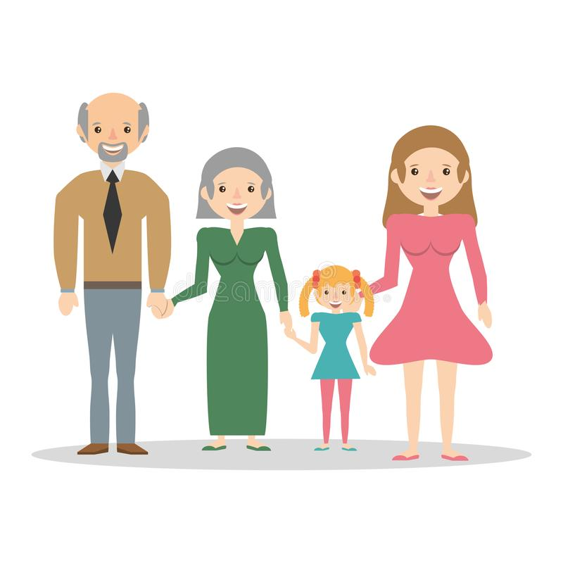Family grandparents mom and girl. Vector illustration eps 10 royalty free illustration