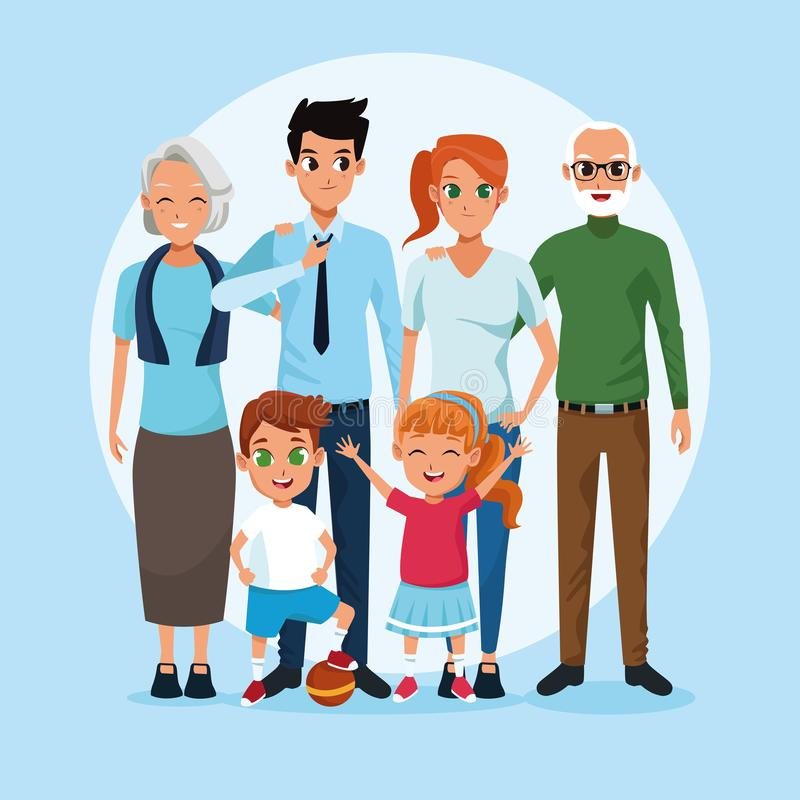 Family grandparents, parents and kids cartoons royalty free illustration