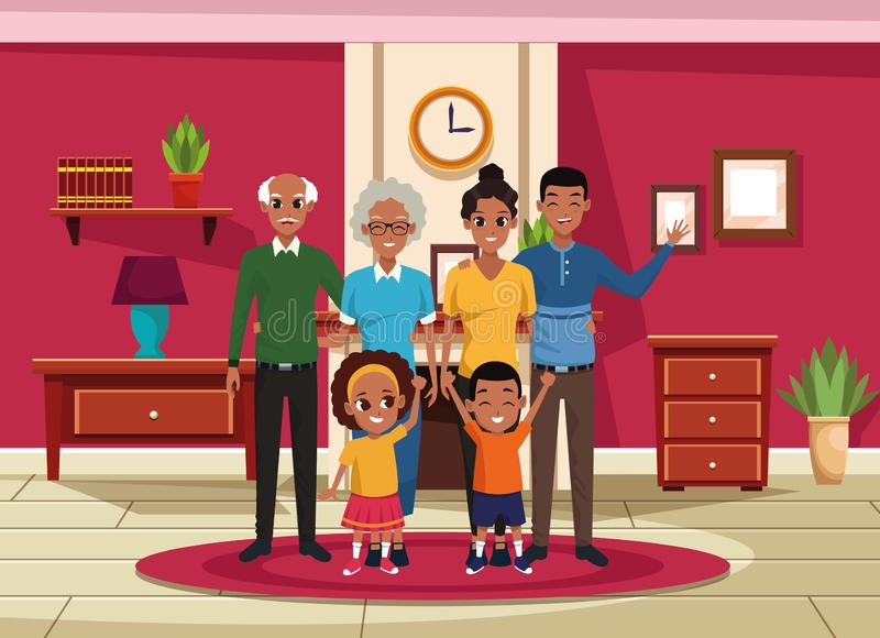 Family grandparents, parents and kids cartoons stock illustration