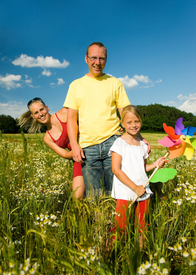 Family In The Grass Stock Images
