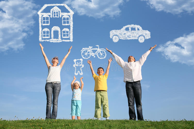 Family on grass with hands up and dream, collage royalty free stock photo