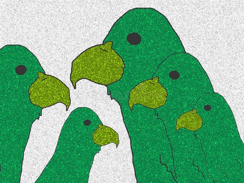 Family of green parrots. stock photo