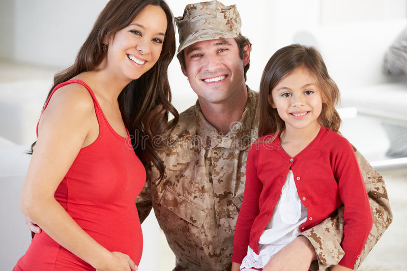 Download Family Greeting Military Father Home On Leave Stock Image - Image of girl, horizontal: 31345781
