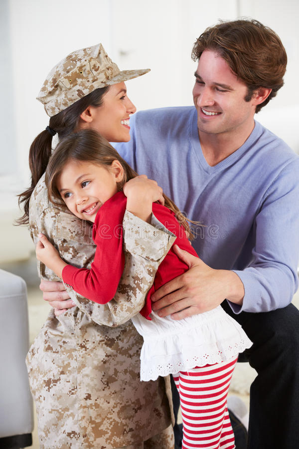 Download Family Greeting Military Mother Home On Leave Stock Photo - Image: 31345928