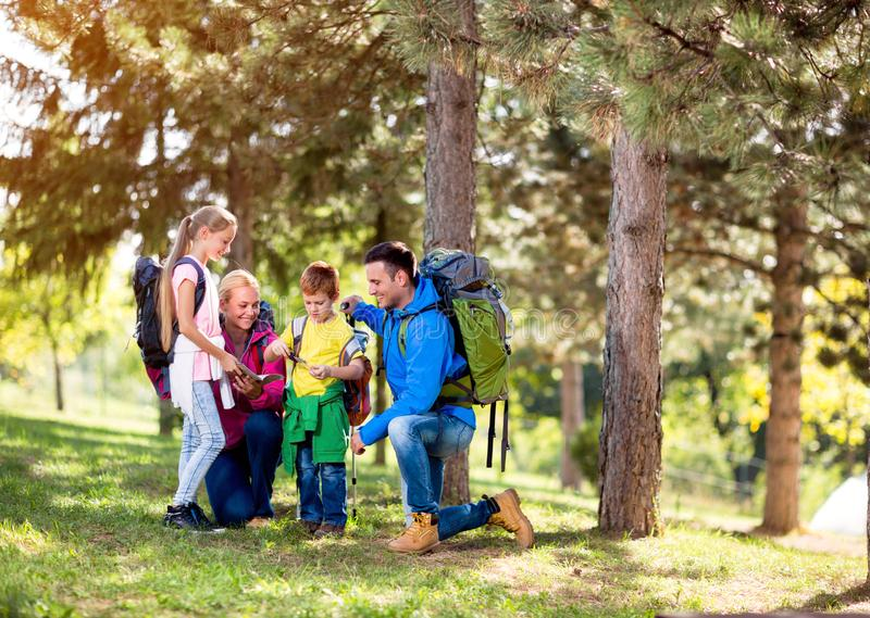 Family group hiking in woods stock photography