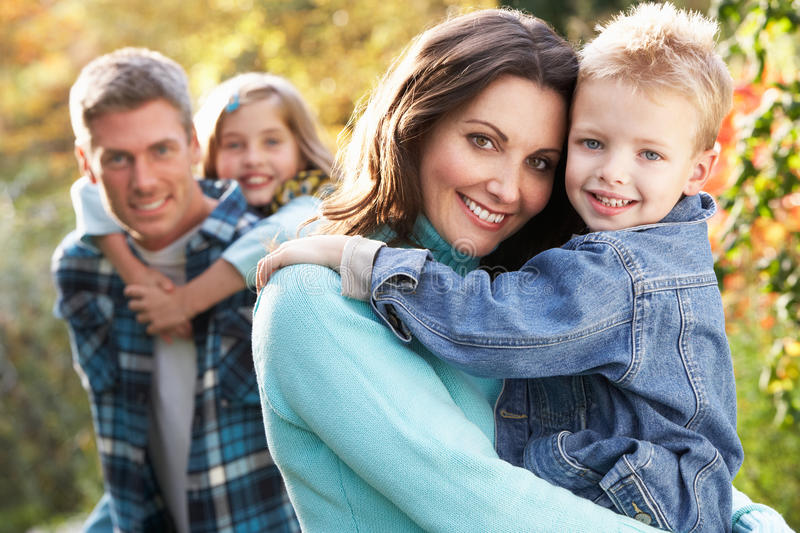 Family Group Outdoors In Autumn Landscape stock image