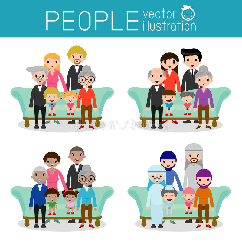 Family group portrait parents grandparents and children. Happy cartoon family,Vector Illustration vector illustration