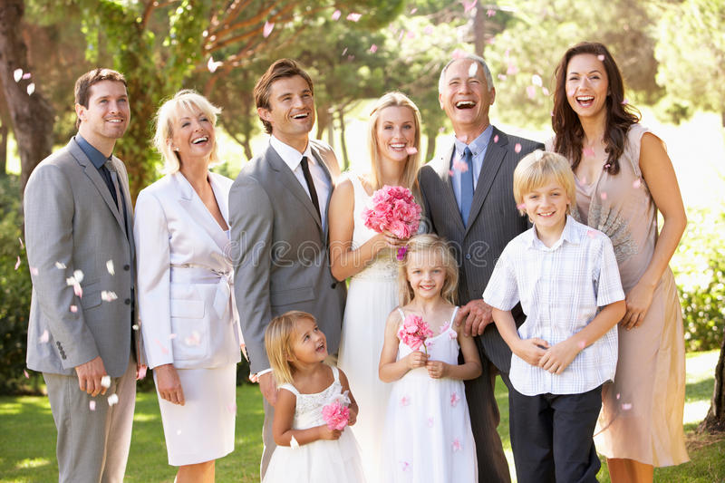 Family Group At Wedding royalty free stock photos