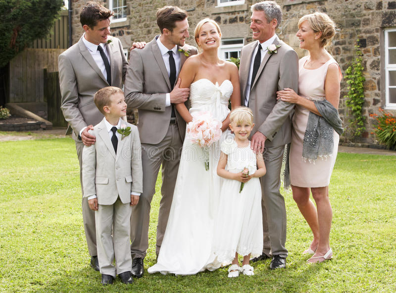 Family Group At Wedding. Smiling royalty free stock photo