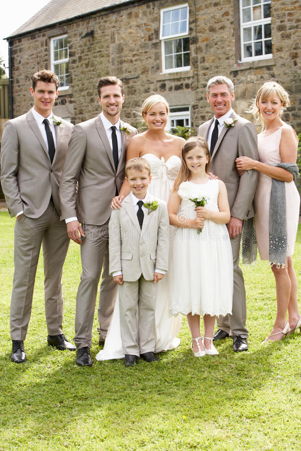 Family Group At Wedding. Smiling To Camera royalty free stock photo