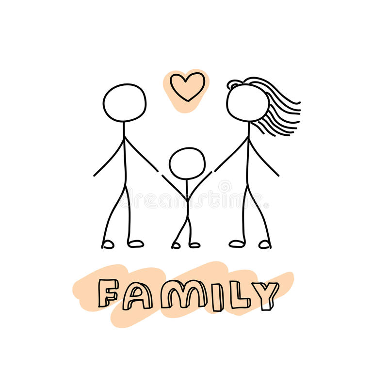 Family Hand Drawn Stick Figures On White Background. Stock
