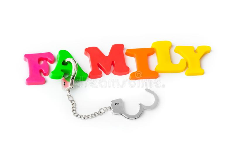 Family and handcuffs royalty free stock images