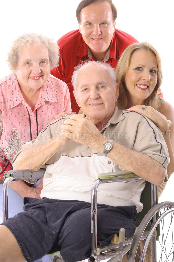 Family with handicap father vertical upclose royalty free stock photography