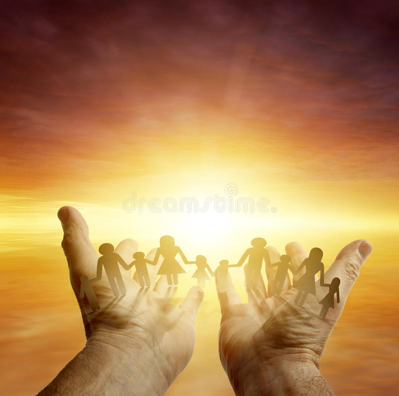 Family in hands royalty free stock photos