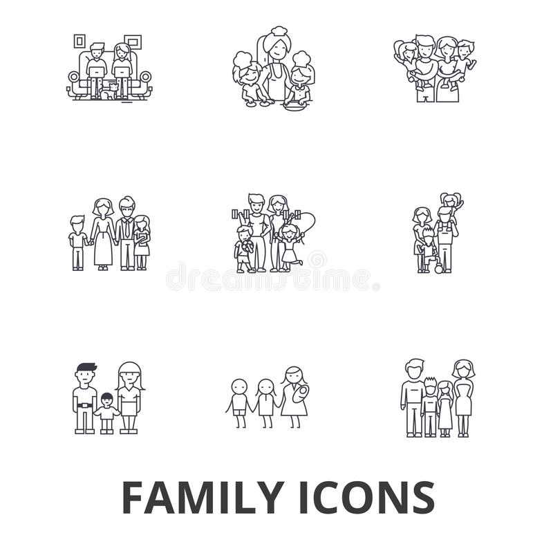 Family, happieness, home, fun, couple, family tree, family portrait, vacation line icons. Editable strokes. Flat design vector illustration