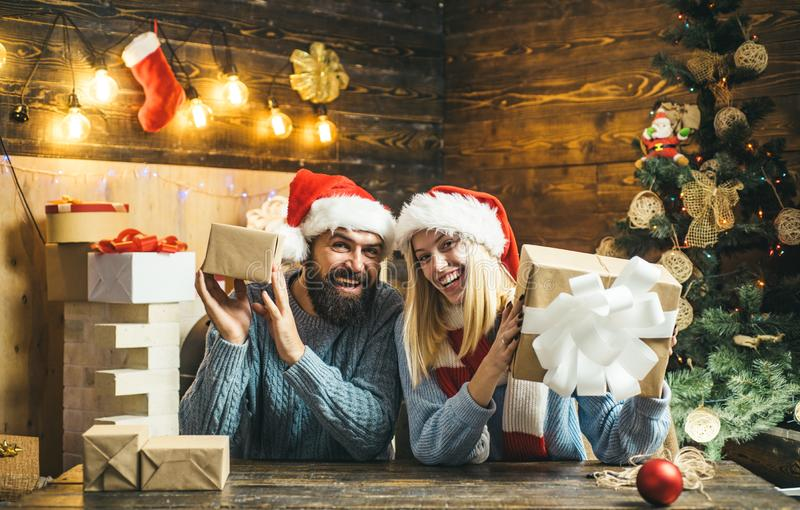 Family happiness concept. Positive emotions facial expressions. Family christmas happy. Winter holidays and people. Concept. Funny New Year concept royalty free stock photography