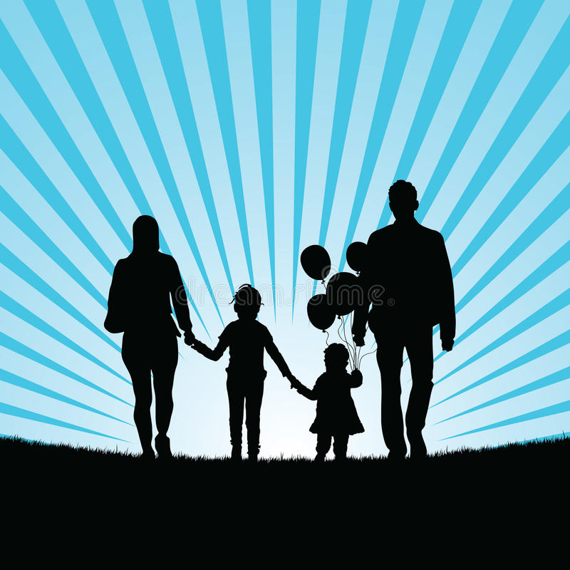 Family and happy children with balloon silhouette illustration stock illustration