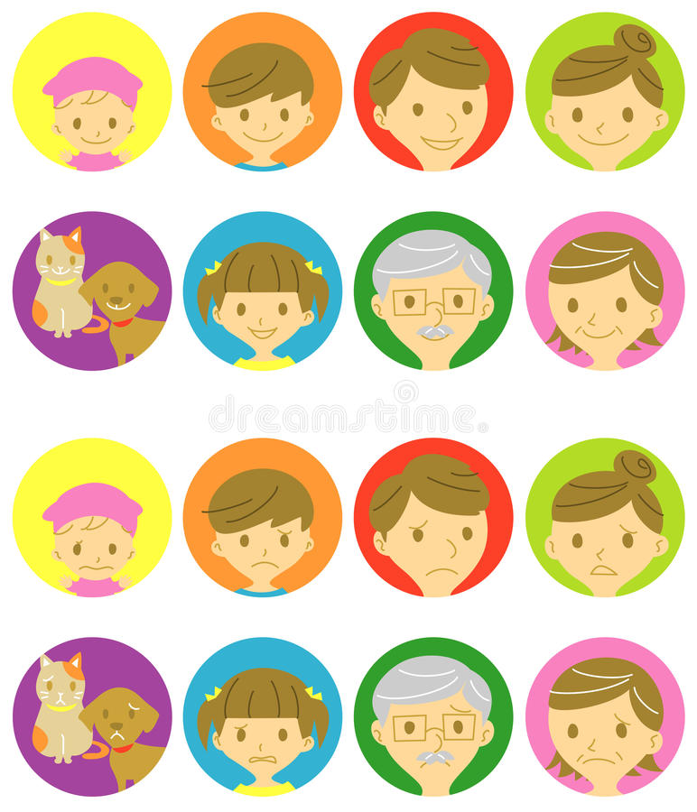 Family happy faces and sad faces stock illustration