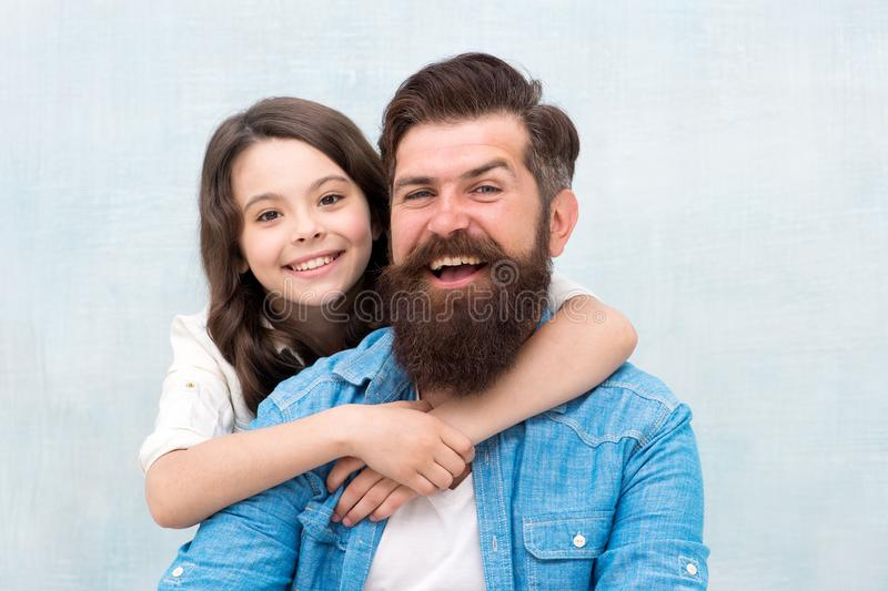 Family always. Happy family. Bearded man and small girl child celebrating family day together. Family of father and. Family always. Happy family. Bearded men and royalty free stock image