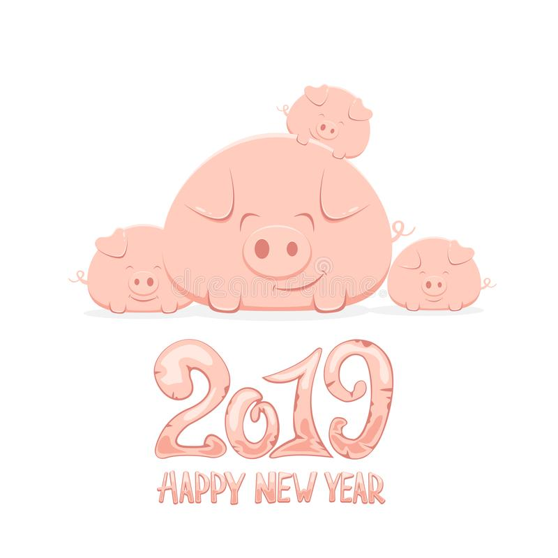 Family of Happy Pigs and Happy New Year stock illustration