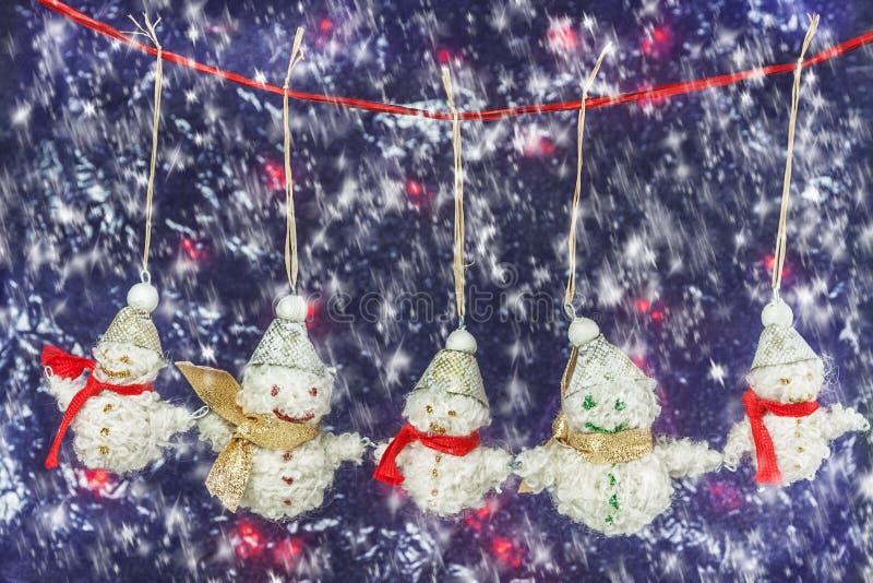 Family Is Happy Snowmen Stock Images