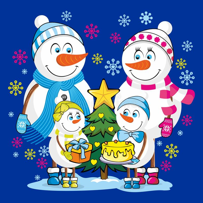 A family of happy snowmen celebrates Christmas and New Year.  stock illustration