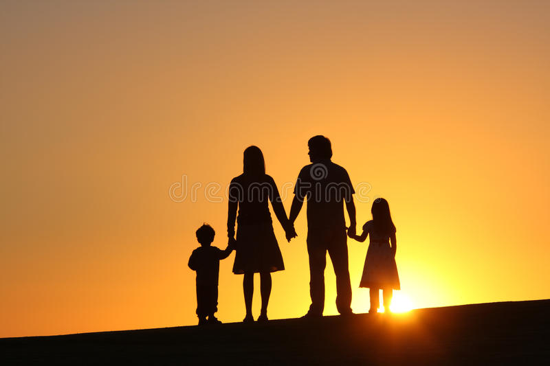Family. Happy family together at sunset