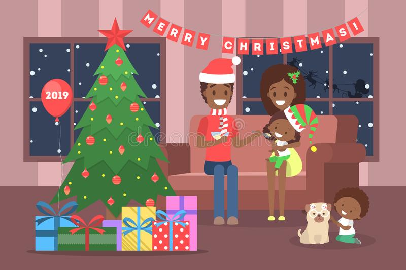 Family have fun together at christmas tree vector illustration