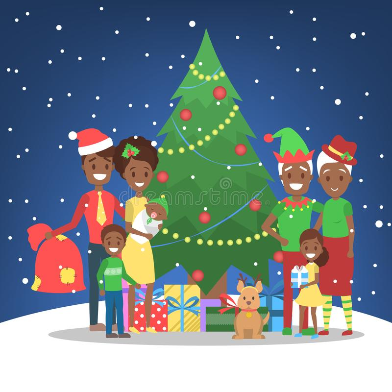 Family have fun together at christmas tree stock illustration