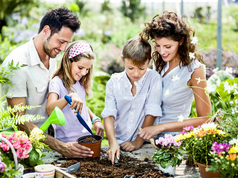 Family have fun in the work of gardening stock image
