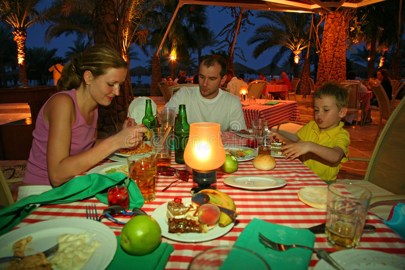 Family have supper royalty free stock photography