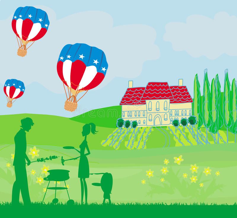 Family having barbecue,Happy independence day card