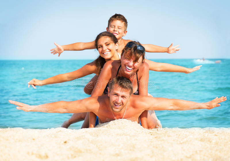 Family Having Fun at the Beach stock photography