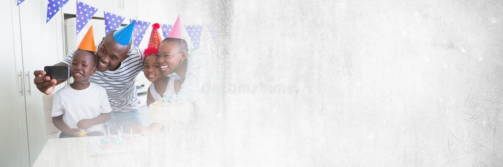 Family having fun birthday celebration party with transition royalty free stock photos