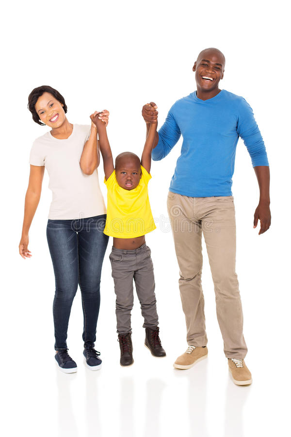 Family having fun. Cheerful young african family having fun on white background royalty free stock image