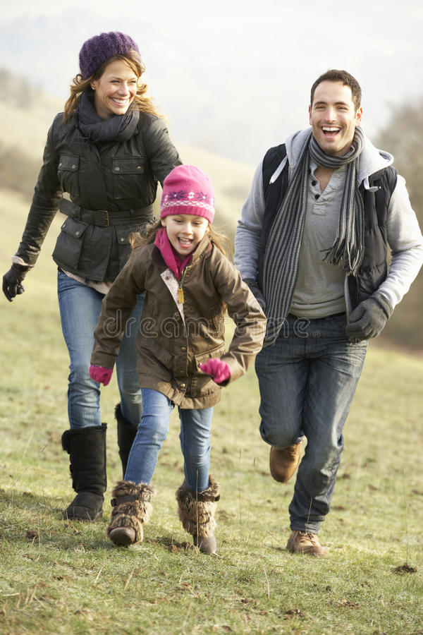 Family having fun in the country in winter stock photo
