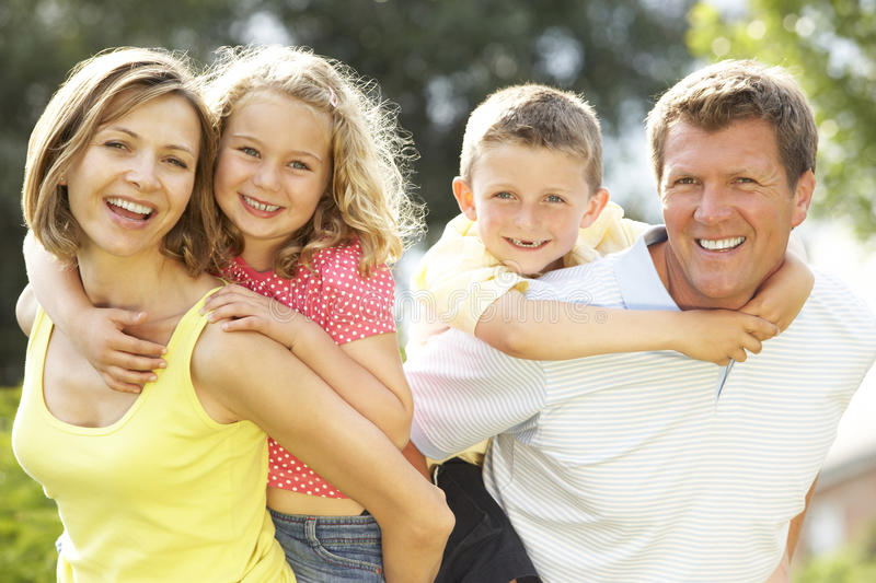 Family having fun in countryside royalty free stock photo