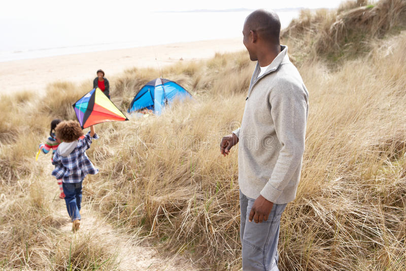 Download Family Having Fun With Kite In Sand Dunes Stock Image - Image: 15686003