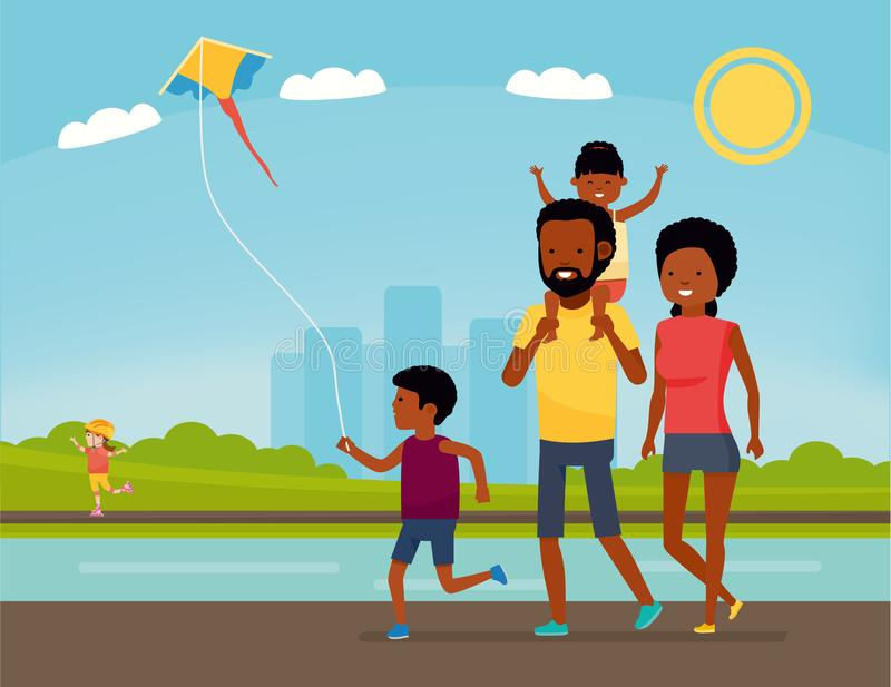 Family is having fun in a nature. African american family in the Park. Summer Vacation. Cartoon vector illustration. Sea stock illustration