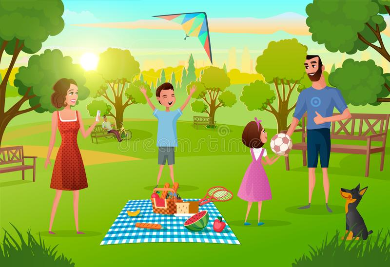 Family Having Fun on Picnic in City Park Vector royalty free illustration