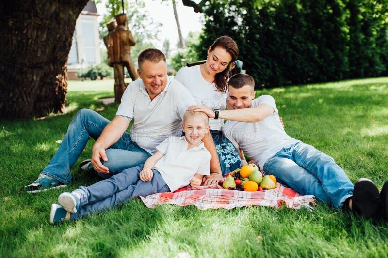 Family having fun at a picnic royalty free stock photo