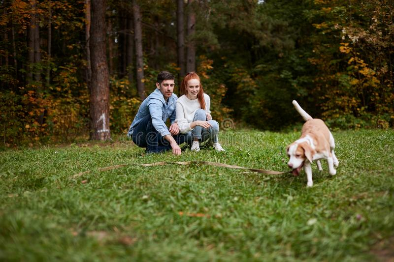 Family having great time with their adotrable favorite pet stock photography