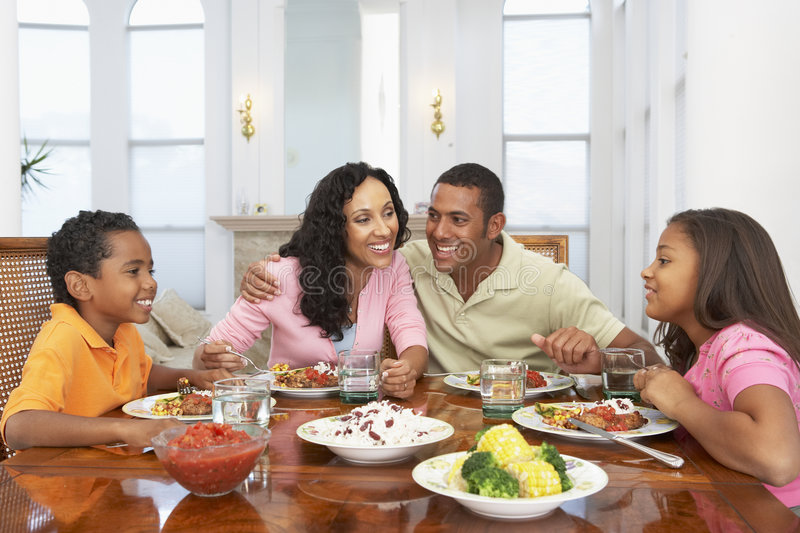 Family Having A Meal At Home royalty free stock photos