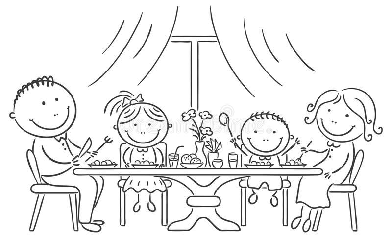 Family having meal together. Happy family having meal together royalty free illustration