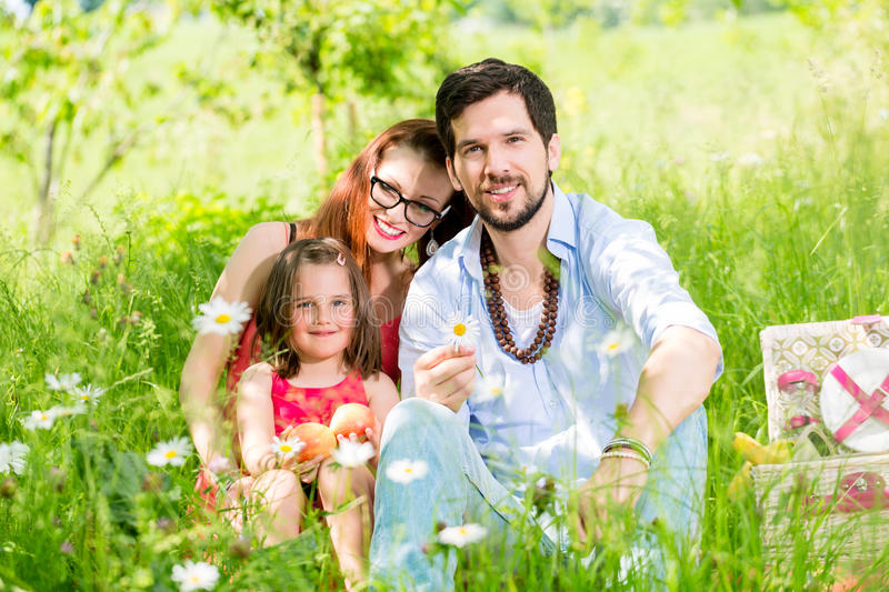 Family having picnic on meadow with healthy fruit. Looking into camera stock photo