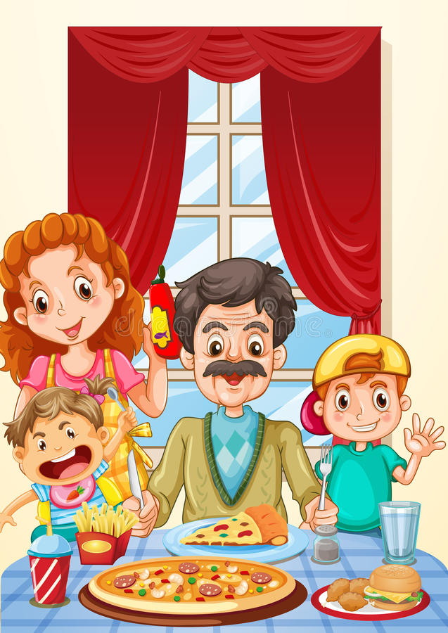 Family having pizza on dining table royalty free illustration