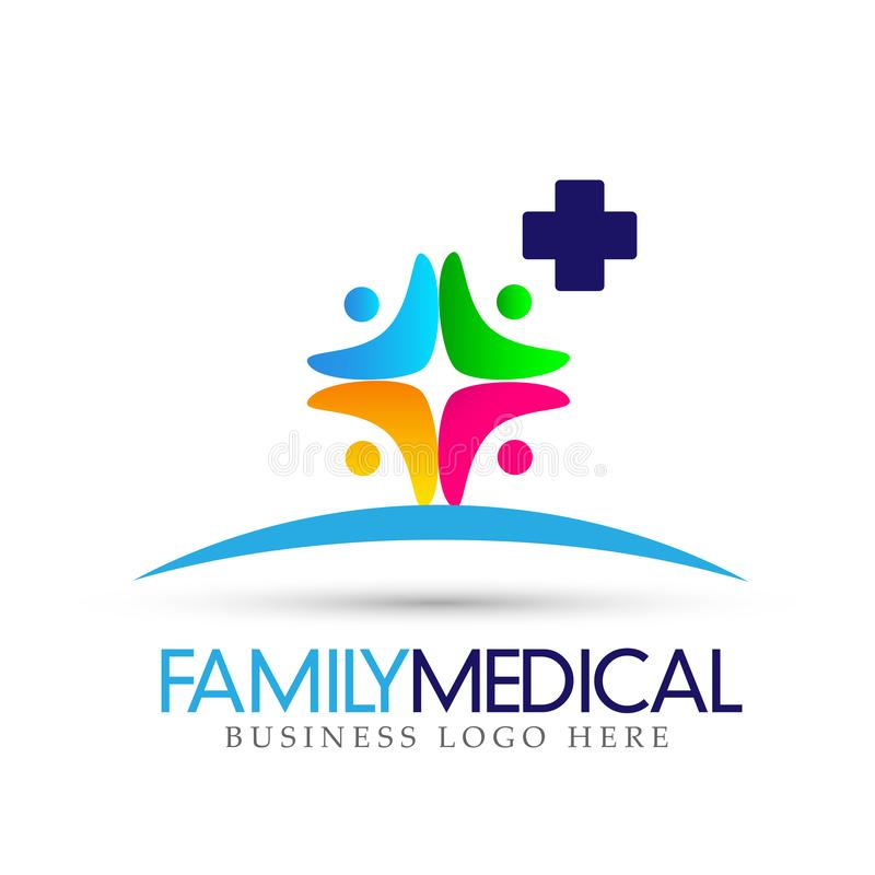 Family Health care union medical cross logo icon symbol on white background. In ai10 illustrations vector illustration